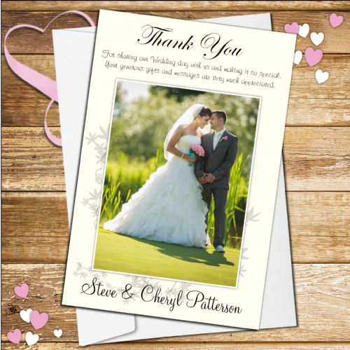 10 Personalised Wedding Day Thank you Photo Cards N46